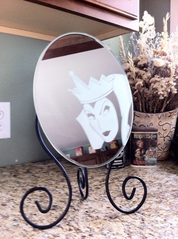 Evil Witch Engraved Mirror Hand Crafted Gift by ToYourDoorDecor, $40.00