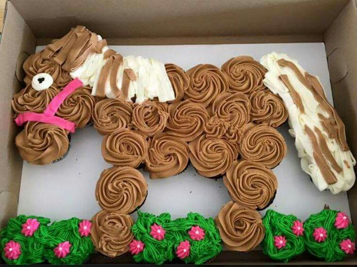 Horse pull apart cupcake cake. Cute idea! via Sugar Shock Sweets