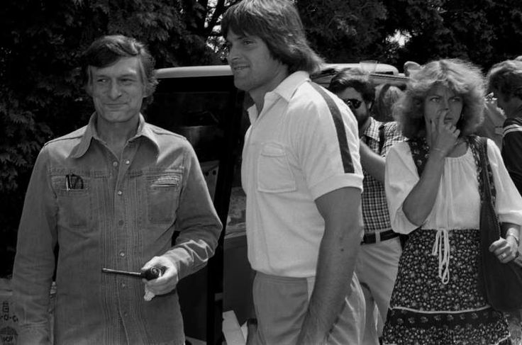 Hugh Hefner hosts his guest Bruce Jenner at the Playboy Mansion in May, 1979.