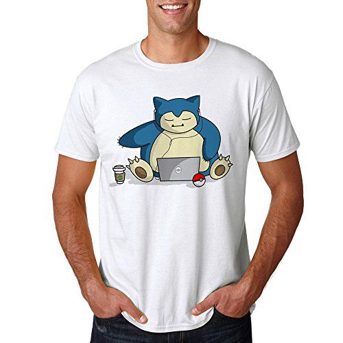 Pokemon Characters Snorlax Lazy for Men T-Shirt (Small, W…