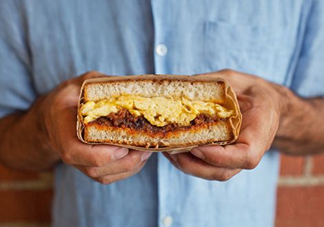 Trust us--this is so good. Chorizo and scrambled egg sandwich from The Sycamore Kitchen. http://thesycamorekitchen.com/