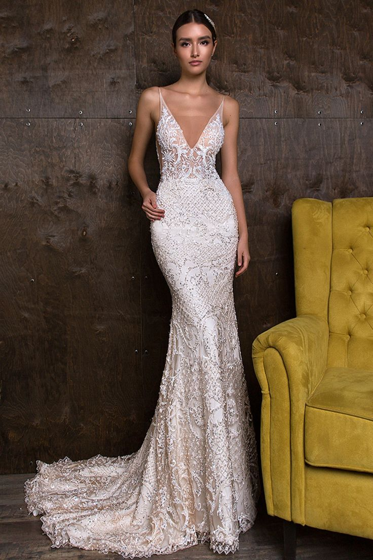 2019 Lace Straps Mermaid Wedding Dresses With Beading Court Train US$ 459.00 IRP…