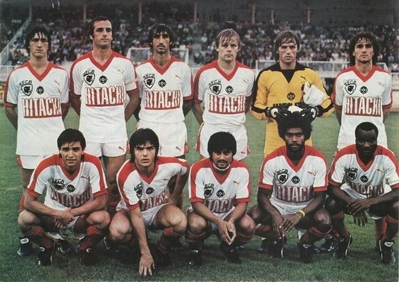 AJ Auxerre vs SC Bastia on 7 August 1981.  SC Bastia line-up : (back row) :  Pastinelli, Orlanducci, Jean-Louis Cazes (SC Bastia, 1975-1985, 327 apps, 10 goals), Ehrlacher, Hiard and Bacconnier | (front row) :  Ponte, Mariini, Fiard, Ihily and Roger Milla (SC Bastia, 1980–1984, 113 apps, 35 goals).