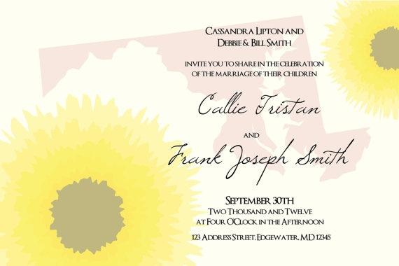 Wedding Invitations In Maryland: Maryland Black Eyed Susan Floral Wedding Invitation Suite