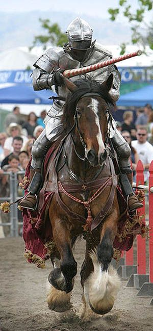 The knight on horseback as part of a re-enactment | A journey through Medieval Life