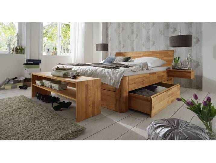 Doppelbett Mit Bettkasten 160x200 Cm Kernbuche Natur Funktionsbett Zarbo Doppelbett Mit Bettk In 2020 Double Bed With Storage Double Beds Bed Storage