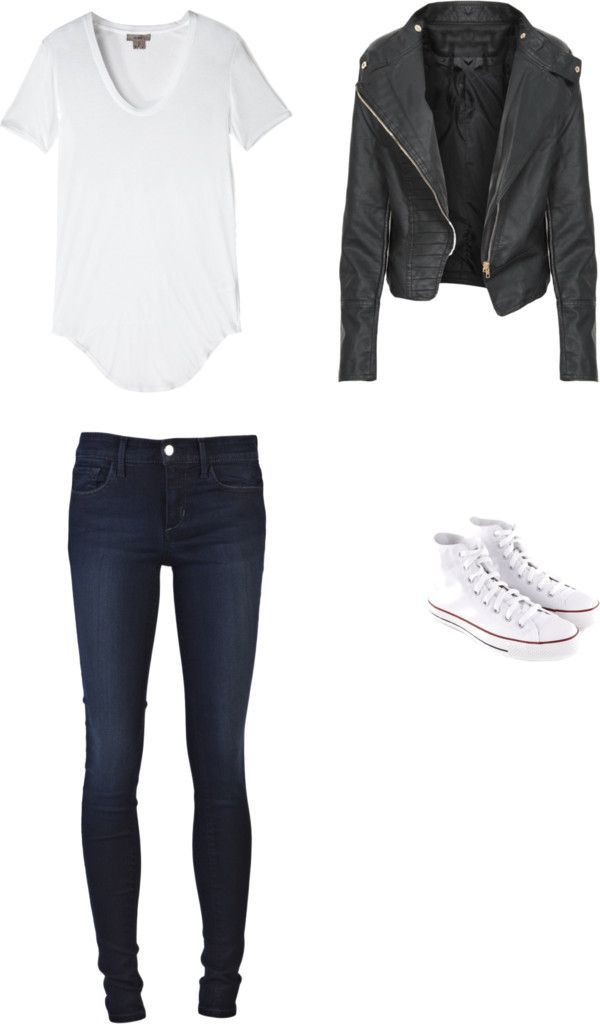 White tee, Leather Jacket, Skinny Jeans/leather leggings and White Converse. so casual