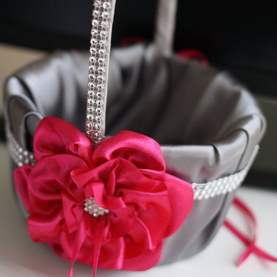 659 best flower girl baskets images on pinterest flower girl fuchsia flower girl basket with brooch gray by alexemotions mightylinksfo Images