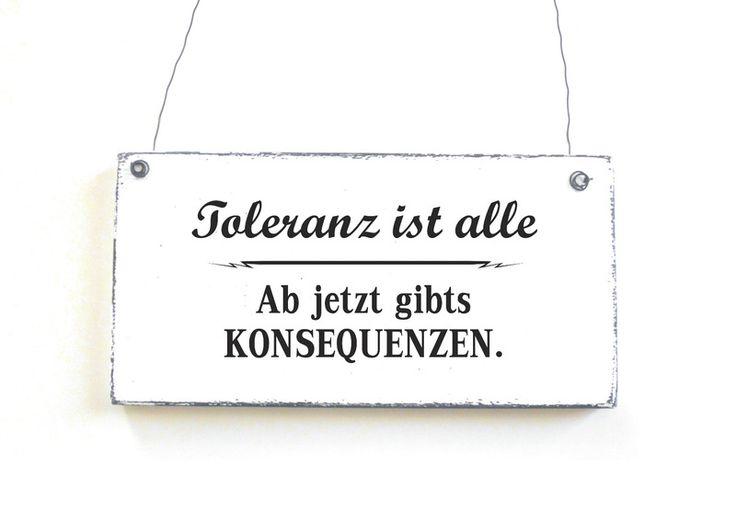 Dekoschild TOLERANZ IST ALLE Holzschild Vintage von DÖRPKIND auf www.doerpkind.de
