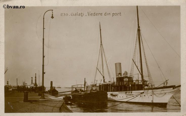 """Vedere din Port, Galati, Romania, anul 1929.   Imagine din colecţiile Bibliotecii Jedeţene """"V.A. Urechia"""" Galaţi."""