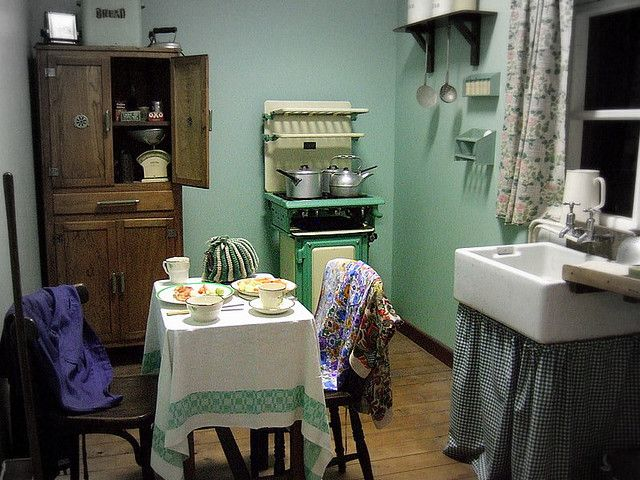 1940's Kitchen: love the green and cream enamel stove still in use!