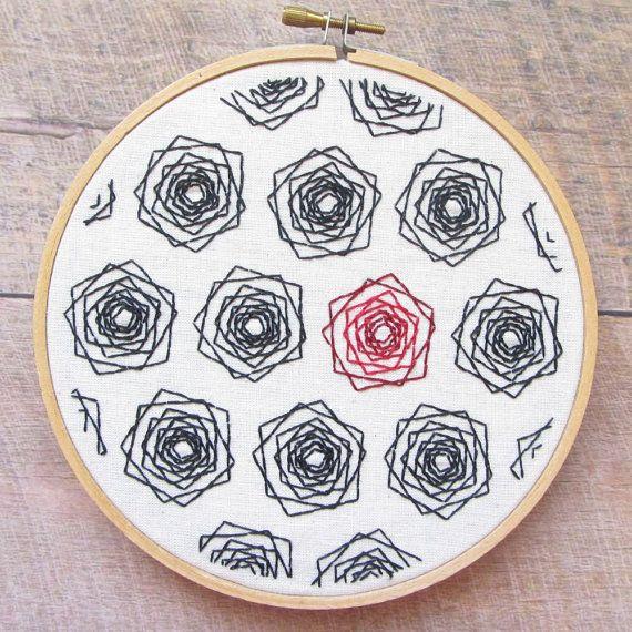 Rosas geométricas PDF bordado patrón - bordado moderno - aro arte