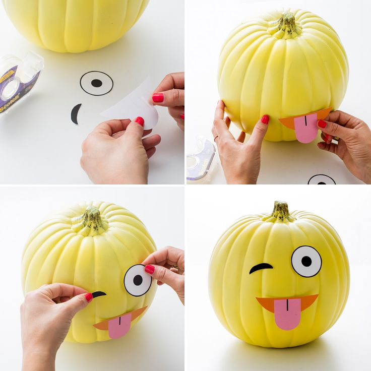 Use this free printable to make an emoji pumpkin.