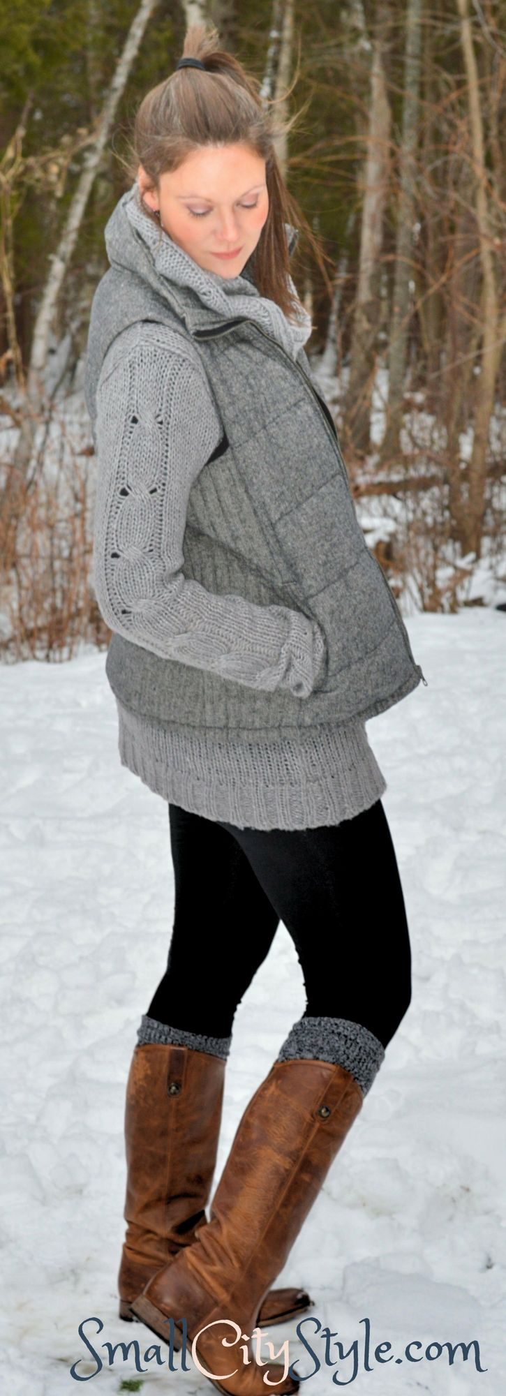 Women's winter outfit, over sized sweater and leggings, herringbone vest, cognac riding boots