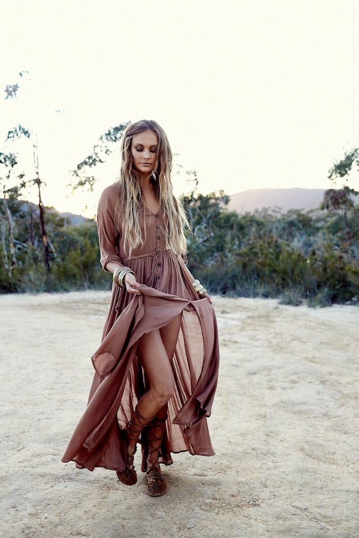1001 Photos Pour Trouver La Plus Belle Robe Bohème Chic En Dentelle Bohemian Maxi Dress Brown Prom Dresses Boho