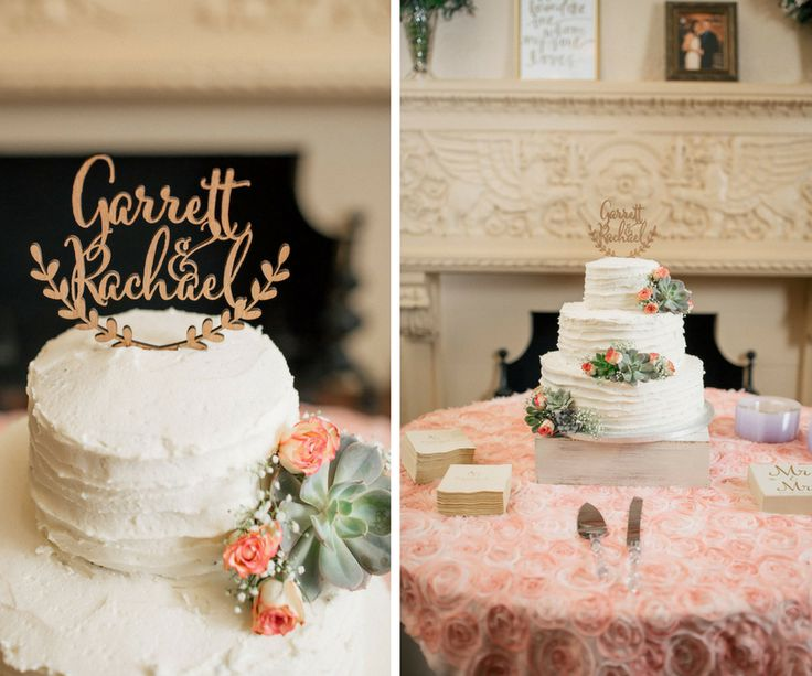 Three Tiered White Round Wedding Cake With Gold Topper And Succulent Flower Details