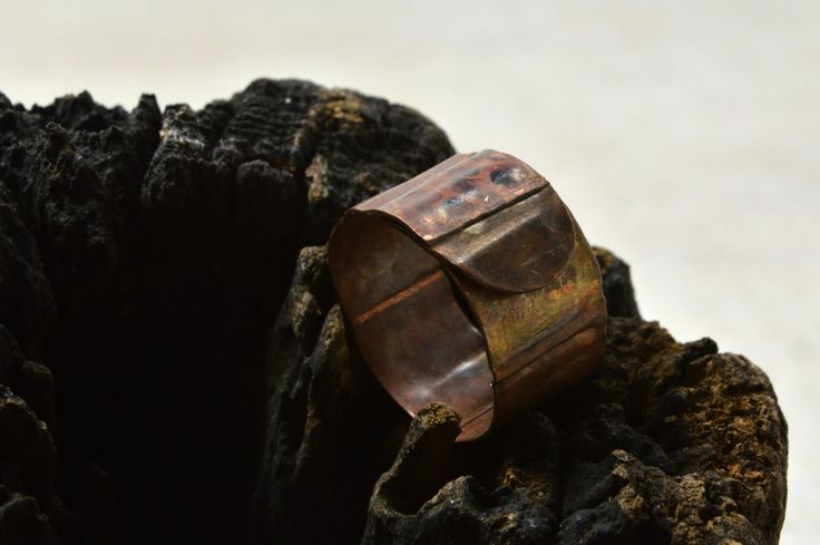 Copper BAND ring unique Wide band ring adjustable copper ring Slightly adjustable gift for her anniversary gift hammered statement jewelry by Violanima on Etsy