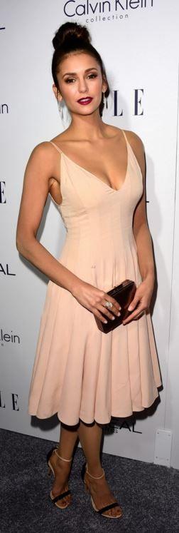 Nina Dobrev: Dress – Calvin Klein  Shoes – Casadei  Jewelry – David Yurman  Purse – LK Bennett