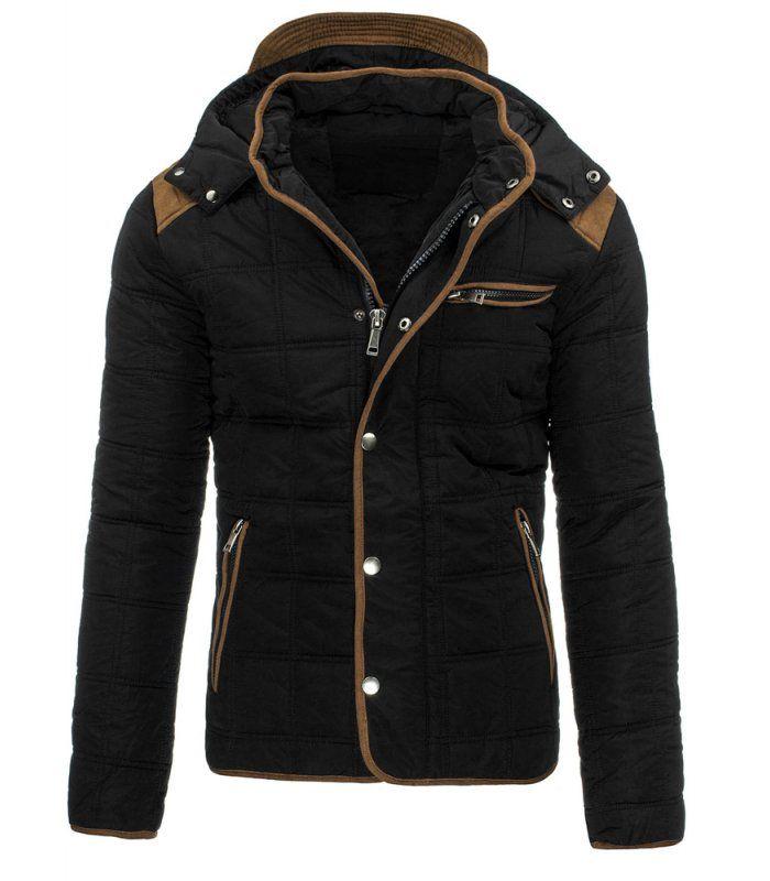 Čierna pánska zimná bunda s kapucňou. Zapínanie na zips a patentky. Tri vonkajšie vrecká. Jedno vnútorné vrecko. Odnímateľná kapucňa. Ideálne na každý deň.