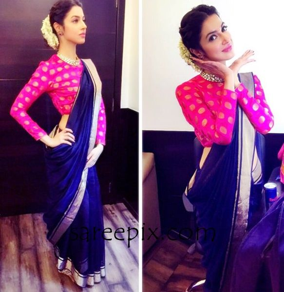 """Bollywood actress Divya Khosla in raw mango silk saree at """"Sanam Re"""" title track launch. The 34-year old beautiful actress was gorgeous in saree."""