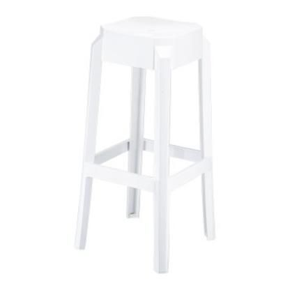 Clear Chair Store Fox Polycarbonate Stackable Indoor/Outdoor Barstool- Set of 2