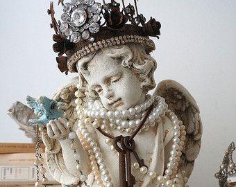 Cherubino ornato statua elegante strass Corona di AnitaSperoDesign