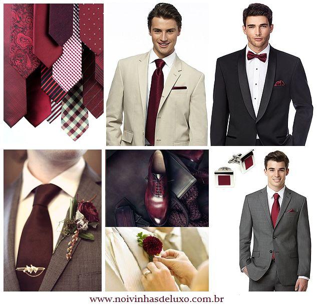 Inspiração Marsala para noivos, padrinhos e pais dos noivos #marsala #padrinhos #paisdosnoivos #noivo  #fatherofthebride #fatherofthegroom  #traje #moda #tendencia #terno #trend #fashion #gravata #casamento #wedding #pantone #cordoano #2015 #noivinhasdeluxo