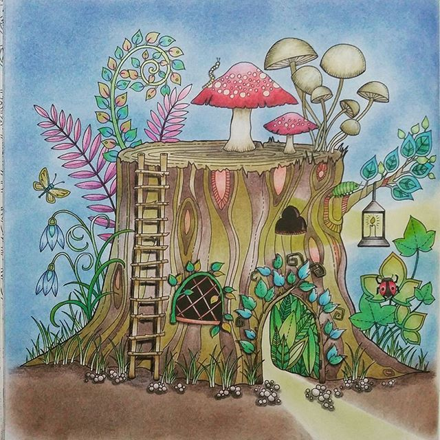 My Humble Abode A Little Tree Stump House From Johanna Basford S Enchanted Fores Enchanted Forest Coloring Book Forest Coloring Book Enchanted Forest Coloring