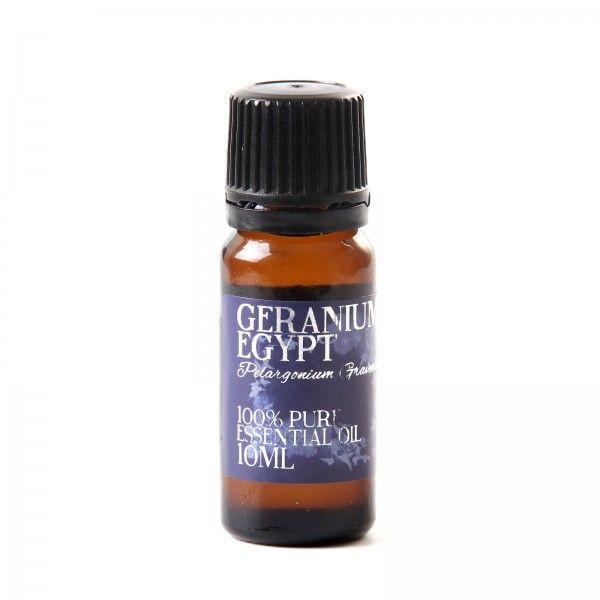 Uleiul esential de geranium a fost folosit pentru a trata acneea, arsurile, vanataile, taieturile, dermatitele, eczemele, hemoroizii, viermii intestinali, ulcerele, edemele, circulatia periferica deficitara, congestia sanilor, durerile de gat, amigdalita,