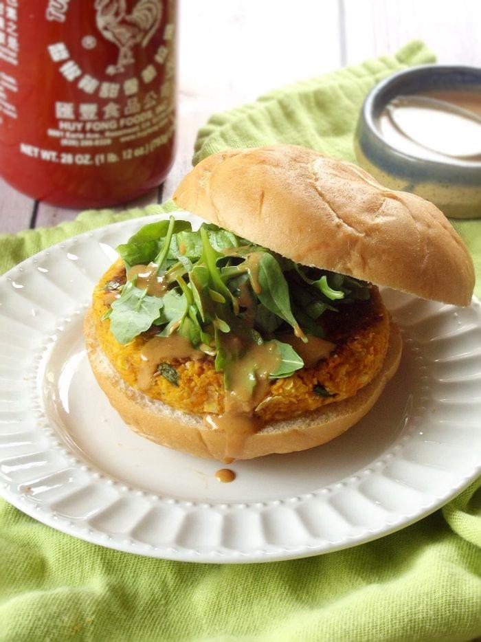 Thai Massaman Curry Butternut Burgers with Peanut Sauce