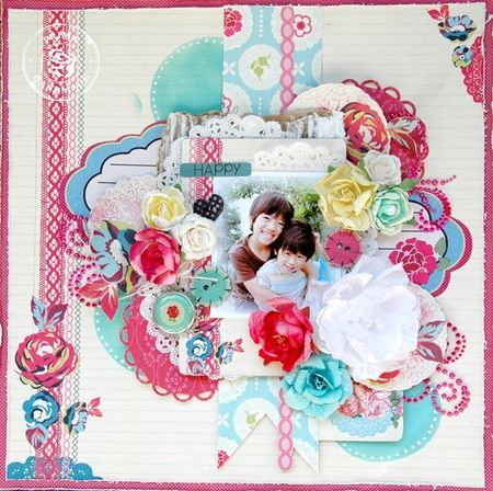Happymaiko: Scrapbook Ideas, First Design, Scrapbook 1, First Layout, Scrap Paper, Maiko Kosugi, Scrapbook Layout, Prima Marketing, Kosugi Mai