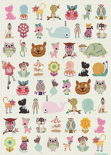 Happy animal wrapping paper by Petra Boase.  Might be cute, framed, girls' room.