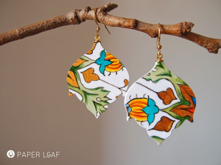 Porcelain Agave | Handpainted paper earrings | Acrylic paint on Cardstock | Paper Leaf