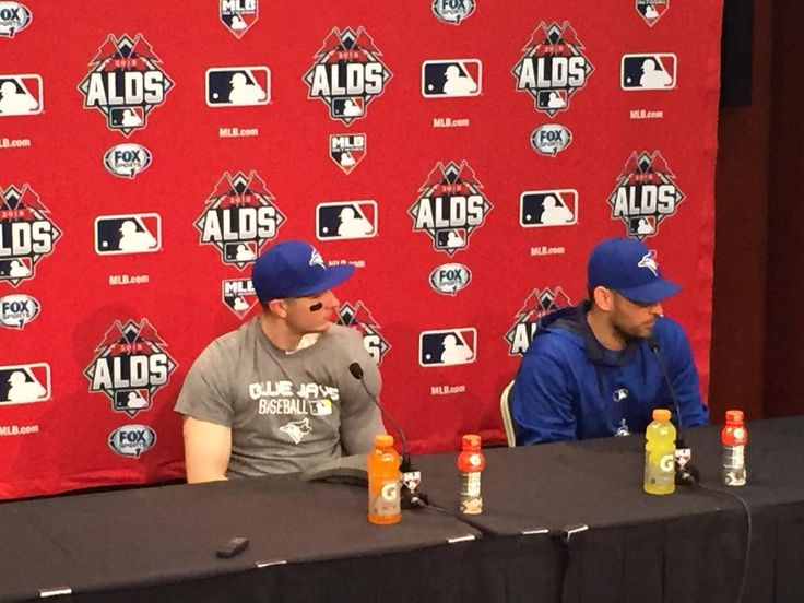 Game 3 heroes Troy Tulowitzki and Marco Estrada on the podium postgame. #BlueJays #MLB #Rangers