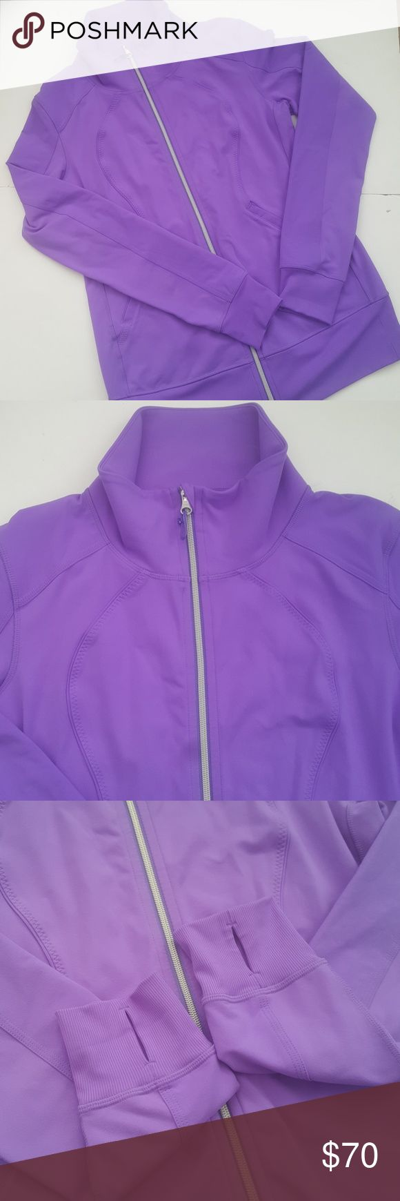 """Lululemon Dark Pastel Purple Zip Up Jacket Form fitting jacket. Thumb holes. Zippered front pockets. No size dot or hang tag. Measurements are consistent with a 10/Large. No condition issues. Dark spot seen in some photos is a shadow from my phones cracked camera. Bust 19"""" Length 27 1/2"""" lululemon athletica Jackets & Coats"""