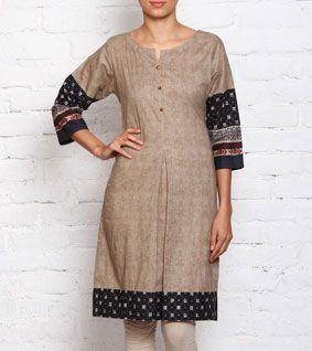 Beige Printed Cambric Cotton Kurta
