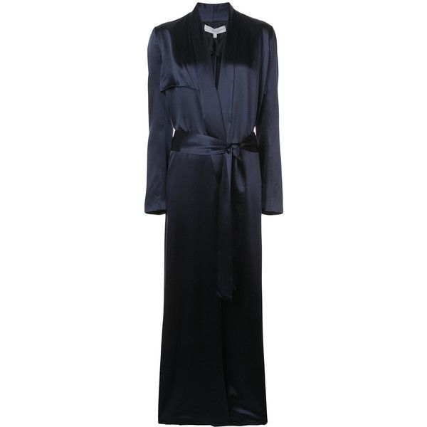 Galvan robe duster coat ($2,485) ❤ liked on Polyvore featuring outerwear, coats, jackets, blue, blue duster coat, duster coats, silk shawl, silk coat and blue coat
