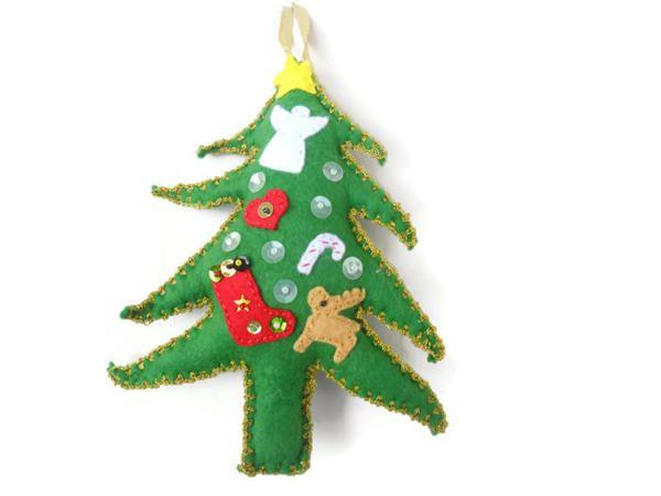 Ücretsiz Kargo - Yılbaşı Temalı Keçe Noel Ağacı Figürlü Yılbaşı süsü
