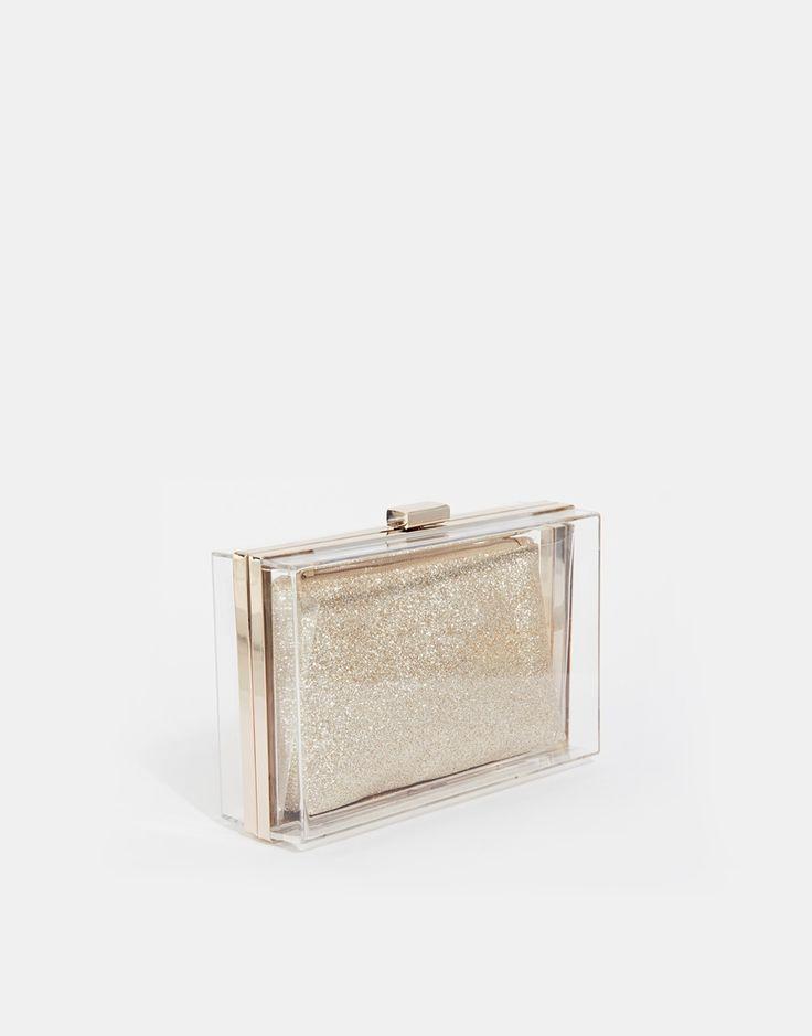 Изображение 2 из Прозрачный клатч со съемным блестящим кошельком NewLook