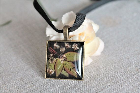 Square botanical pressed flower pendant leaves and by Miodunka