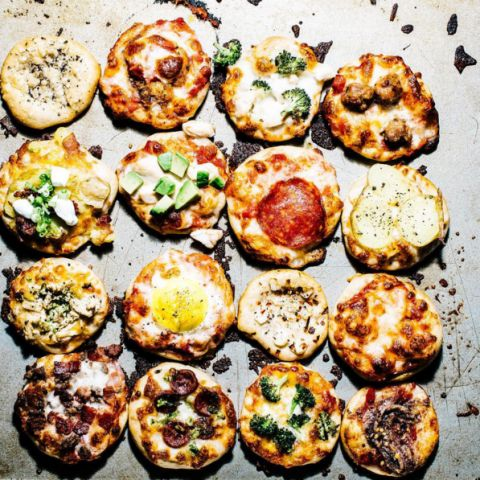 It'll be so much better giving into Super Bowl party pizzas when they are tiny, adorable, and all the flavors that you could possible want. Or better yet, have everyone chose their own topping and pop them in the oven to eat at half time.