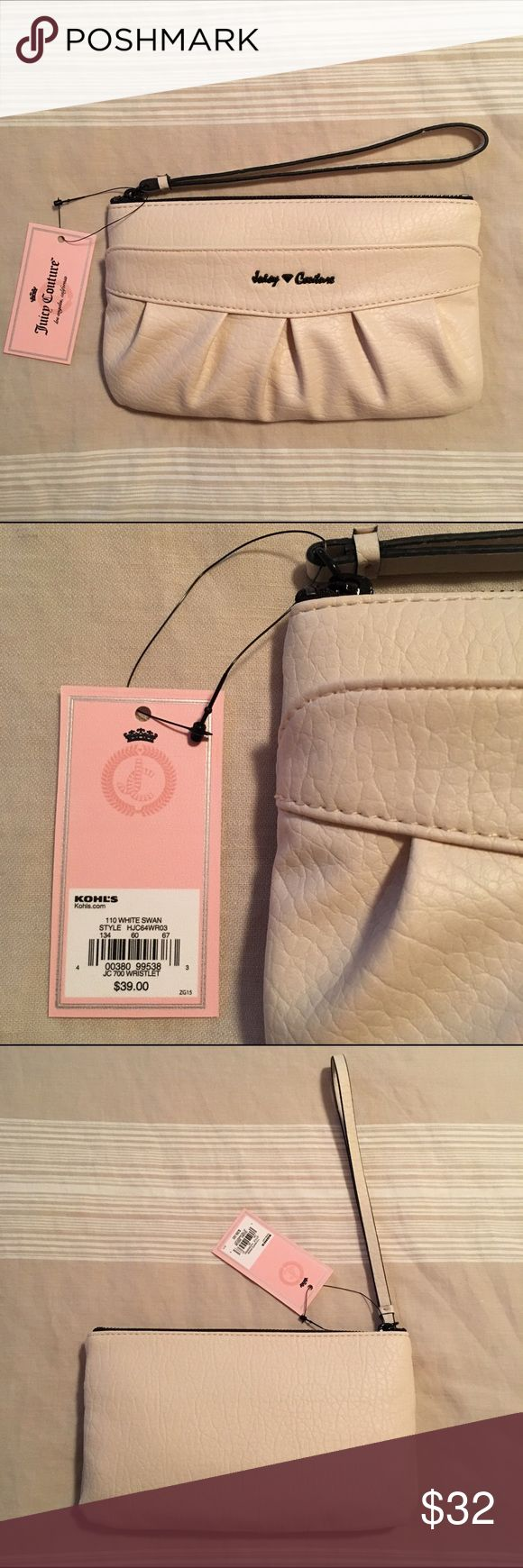 NEW Juicy Couture Ruched Wristlet Brand new with tag! Juicy Couture JC 700 ruched wristlet. The color on the tag says 'White Swan', but it is more of an off white cream color. So pretty! It will match any outfit!! Pretty ruched design. Measures 5 1/4''H x 8 3/4''W x 1''D. Zipper closure. Drop down length: 7 1/2''. Wristlet strap. Exterior zip pocket and interior has 2 slip pockets, zip pocket & 6 card slots. Faux leather. If you have any questions let me know :) I don't trade at this time…