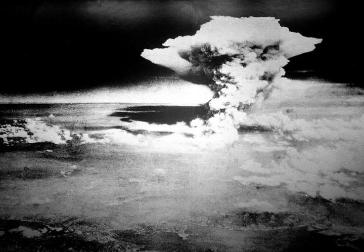 August 6,1945: US DROPS ATOMIC BOMB ON HIROSHIMA  -   At 8:16 a.m., the world's first nuclear bomb, Little Boy, detonates in Hiroshima, Japan. Dropped by an American B-29 bomber, Enola Gay, the bomb annihilated the city, killing between 90,000 and 166,000 people in the months following the blast. It was estimated that over the next decade, 237,000 people were killed directly or indirectly by the bomb's effects, including by burns, radiation or cancer.