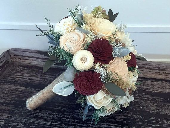 Burgundy, Tan and Ivory Wedding Bouquet - sola flowers - choose colors - bridal bouquet - Custom - Alternative bouquet - bridesmaids bouquet