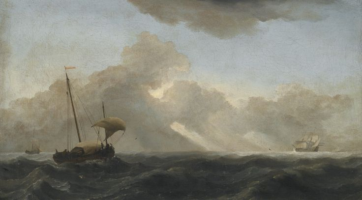 Willem van de Velde the Younger LEIDEN 1633 - 1707 LONDON SEASCAPE WITH PASSING STORM oil on canvas 35.5 by 62 cm.; 14 by 23 7/8  in: