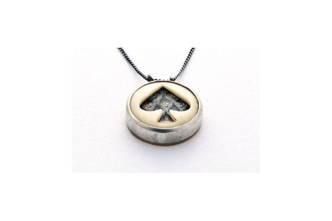 Ace of Spades Ceramic and Bone Pendant by Kallie