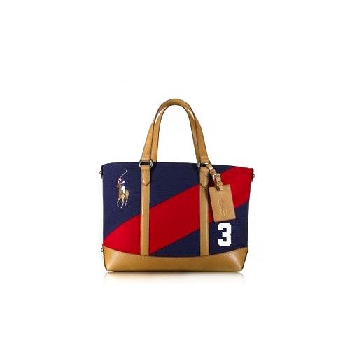 Ralph Lauren Leather Canvas Polo Tote Blue/Red LOve ,love , so beautiful bag,  I love it very much.