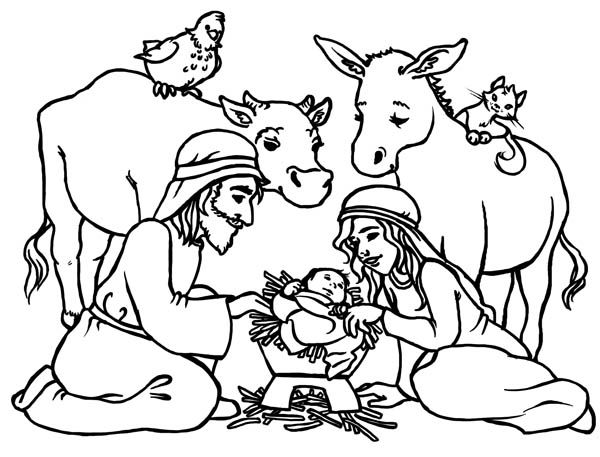 Nativity Baby Jesus In A Manger In Nativity Coloring Page Baby