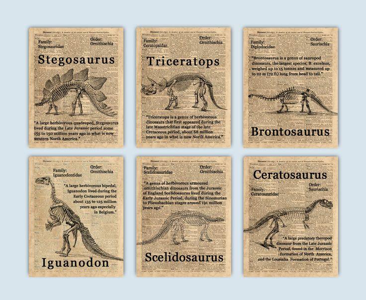 Dinosaur Decor Dinosaur Nursery Dinosaur Party Dinosaur Poster Dinosaur Print Dinosaur Wall Art Kids Room Decor Set Of 6 Prints