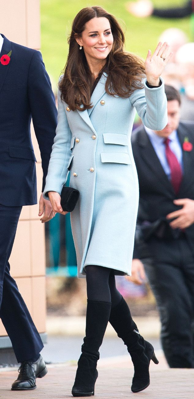 Duchess Kate Covers Baby Bump in Chic Pastel Blue Coat During Oil Refinery Visit With Prince William